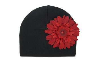 Black Cotton Hat with Red Daisy