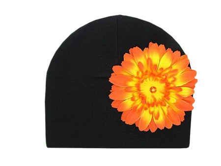 Black Cotton Hat with Orange Daisy