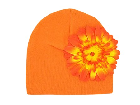 Orange Cotton Hat with Orange Daisy