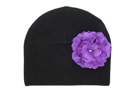 Black Cotton Hat with Purple Large Geraniums