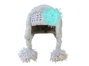 Gray Winter Wimple Hat with Teal Curly Marabou
